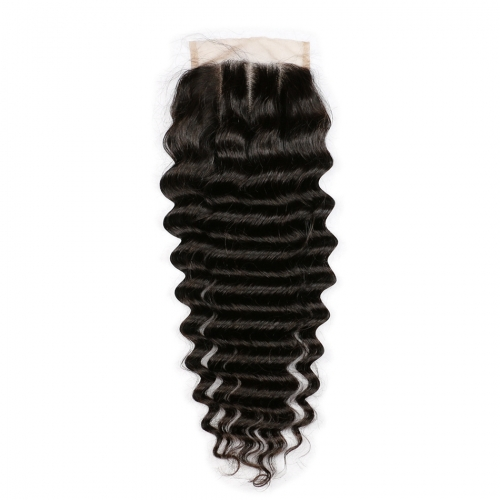 Osolovely Hair 9A Grade 4x4 Three Part Deep Wave Lace Closure Human Hair Natural Color Human Virgin Hair Closure Bleached Knots With Baby Hair