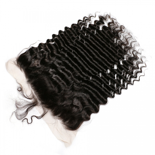 Osolovely Hair 10A Grade Pre Plucked Deep Wave Bleached Knots 13x6 Ear To Ear Lace Frontal Closure With Baby Hair