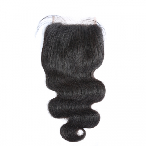 Osolovely Hair Body Wave Free Part 5x5 Lace Closure Human Virgin Hair Medium Brown Swiss Lace With Baby Hair