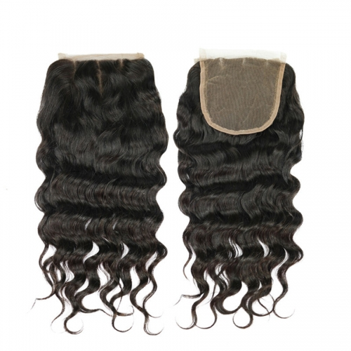 Osolovely Hair 9A Grade Human Virgin Hair Loose Wave 5x5 Lace Closure 3 Part Swiss Lace Bleached Knots Closure With Baby Hair