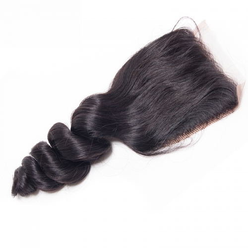 Osolovely Hair Deep Loose Wave Closure Human Hair 4x4 Swiss Lace 130% Density 100% Human Hair Lace Closures
