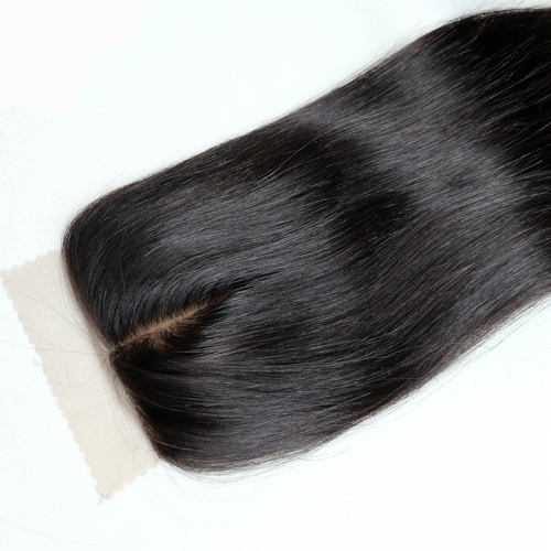 Osolovely Hair 9A Grade Straight Silk Base Lace Closure Natural Color 10 to 20 Inch 4*4 Middle Part Swiss Lace Virgin Hair