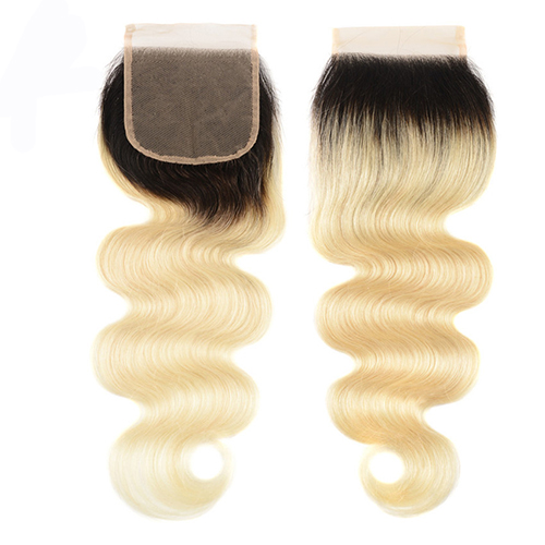 Osolovely Hair 1b/613 Body Wave Ombre Lace Closure 4x4 Free Part 10-20 inch 100% Virgin Hair