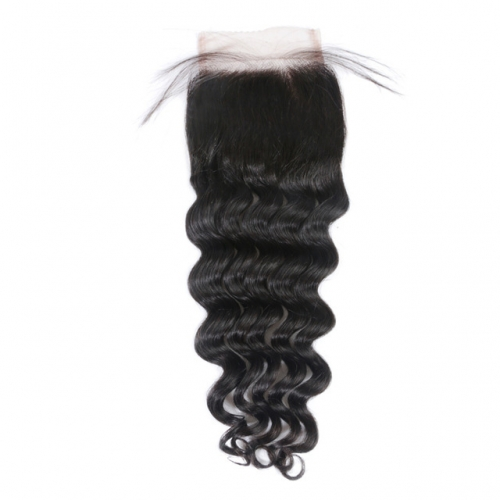 "Osolovely Hair Loose Deep Wave Hair Natural Color 10"" to 20"" 100% Human Hair Free Part 4x4 Lace Closure"
