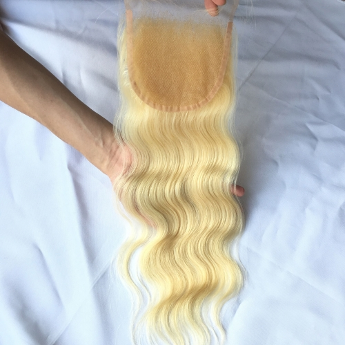 Osolovely Hair Body Wave Blonde 613 Color 5x5 Lace Closure Medium Brown Swiss Lace Bleached Knots With Baby Hair