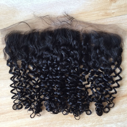 Osolovely Hair Italian Curly Hair Lace Frontal Closure 13x4 Free Part Ear to Ear Human Hair Curly Closures Natural Color