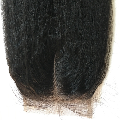 Osolovely Hair Kinky Straight Bleached Knots Lace Closure 4x4 Nature Color 100% Human Virgin Hair Closure With Baby Hair