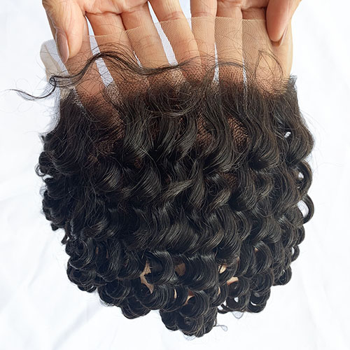 13x4 Ear to Ear Transparent Lace Deep Curly Lace Frontal with Baby Hair Osolovely Hair Pre Plucked Transparent Lace Closure Natural Black