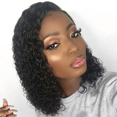 Osolovely Hair Short 360 Lace Front Human Hair Wigs Pre Plucked With Baby Hair Side Part Curly Hair 360 Lace Front Wigs 8-16""