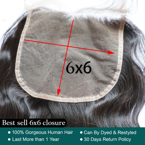 Osolovely Hair Human Virgin Hair Body Wave 6x6 Lace Closure Swiss Lace Bleached Knots Closure With Baby Hair
