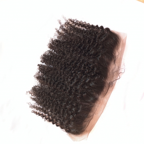 Osolovely Hair Afro Kinky Curly Hair Lace Frontal Closure 13x4 Free Part Ear to Ear Human Hair Lace Closures Natural Color