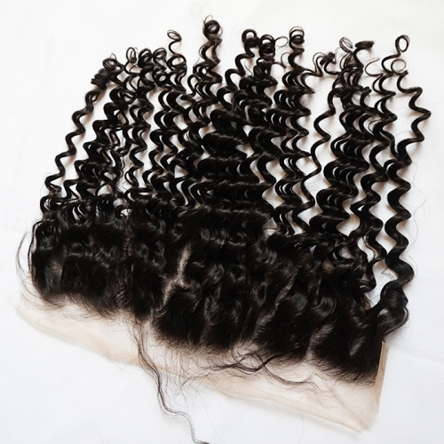 TRANSPARENT Lace Frontal Deep Curly 13x4 Virgin Hair Extensions with Baby Hair Natural Hairline Bleached Knots Osolovely Osolovely