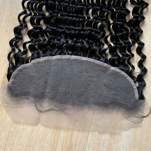 Osolovely Hair Transparent Lace Loose Deep Wave Lace Frontal Free Part Ear to Ear Human Hair Size 13x4 Natural Color Lace Frontal Closure