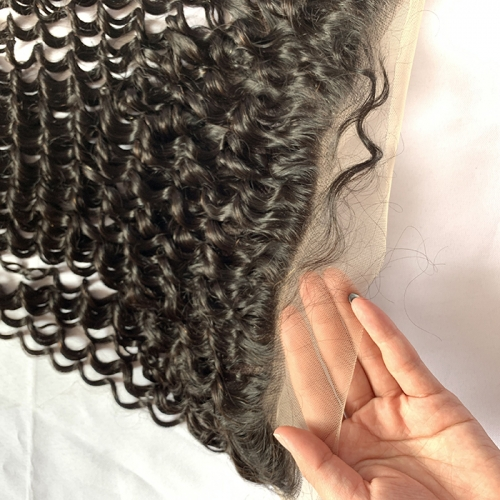 13x6 Lace Frontal Closure With Deep Parting Deep Curly Remy Hair Frontal Swiss Lace Bleached Knots Natural Color 13x6 Hair