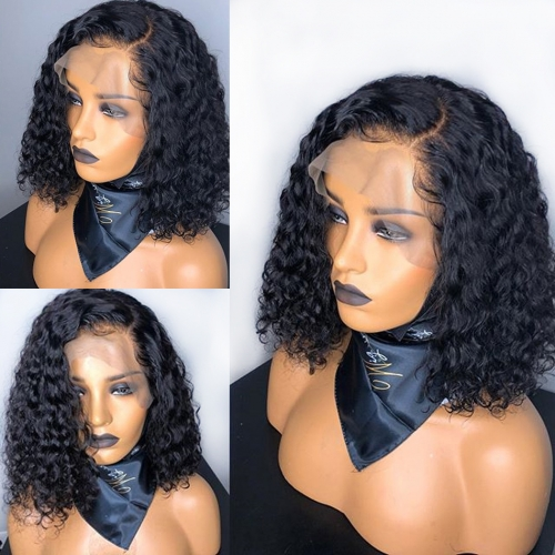 Osolovely Short Curly 13x6 Lace Front Human Hair Wigs Pre Plucked With Baby Hair 150% Density 13x6 wig Hair Bob Lace Front Wigs For Black Women