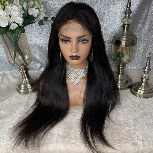 7x7 Closure Wig Lace Frontal Human Hair Wigs Straight Pre Plucked Hairline Baby Hair 10-24 Inch With 2 Bundles Human Hair 7x7 Lace Frontal Wigs