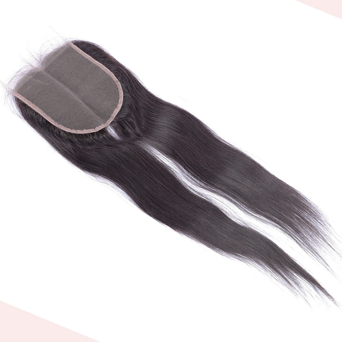 Osolovely Hair Straight 5X5 Lace Closure With Deep Parting 10-20inch 100% Human Hair Closure Bleached Knots With Baby Hair Part To End