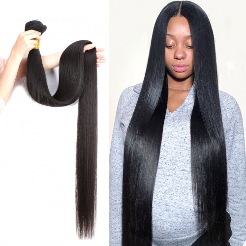 Osolovely Hair Straight Hair Bundles Human Hair Weave Bundles 100% Human Hair Bundles Natural Color Non Remy Hair Weave 1/3/4 Pieces