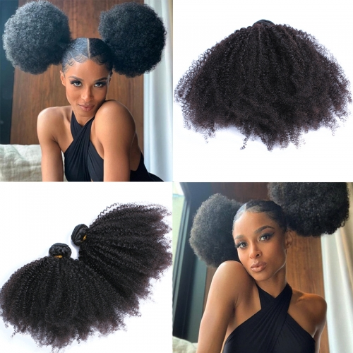 Osolovely Hair Afro Kinky Curly Weave Human Hair Extensions 4B 4C Virgin Hair 1 Or 3 or 4 Bundles Natural Black Afro Kinky Curly Machine Double Weft