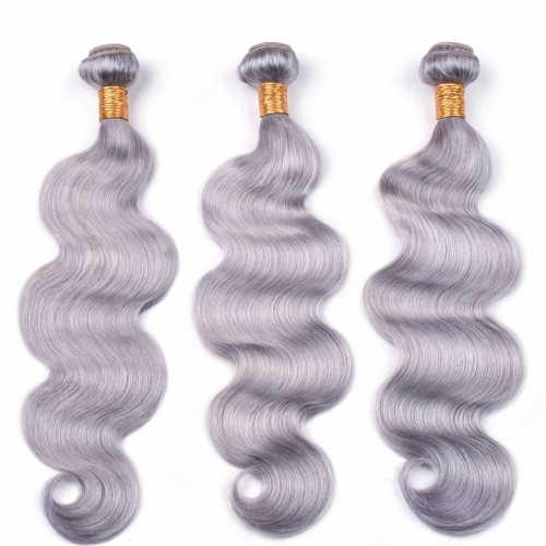 Osolovely Hair Grey Straight Hair Bundles Weave 1/3/4 Body Wave  Full Grey Human Hair Bundles Non Remy 100% Human Hair Extensions 10-30Inch