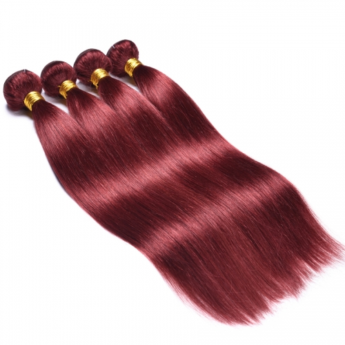 Osolovely Hair Straight Bold Red #99 Burgundy Human Hair Weave 1/3/4 Bundles Straight Human Hair Osolovely Hair Thick Hair Extension