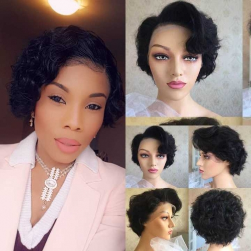 Natural Wave Pixie Cut Lace Wig Short Lace Front Human Hair Wigs For Black Women 13x6 Lace Front Wig 180 Hair Deep Wave Lace Frontal Bob Wigs With Ba