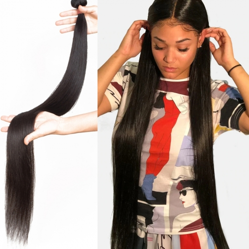 Osolovely Hair Straight Human Hair Extensions 100% Human Hair Bundles 32 34 36 38 40 inch Hair Weave Bundles