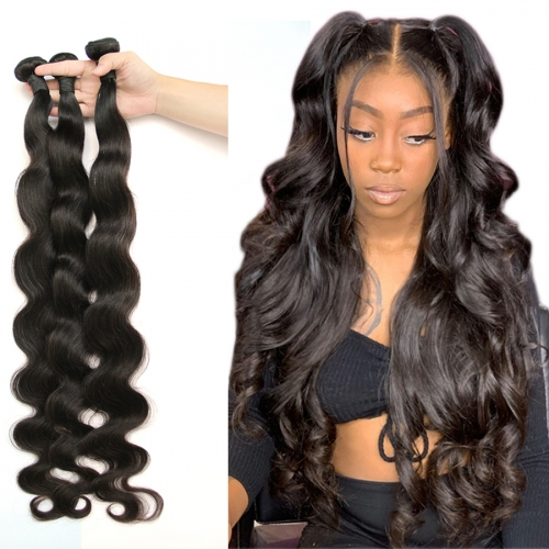 40inch Osolovely Hair32 34 36 38 40 Inches Human Hair Bundles Natural Color 1Piece Body Wave Hair Long Length Remy Hair